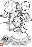 Chaperon rouge cueille des fleurs