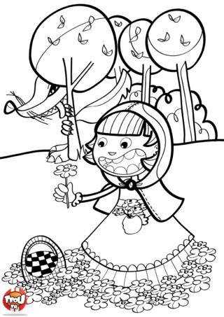 Coloriage: Chaperon rouge cueille des fleurs