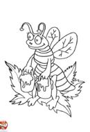 Abeille et pots de miel