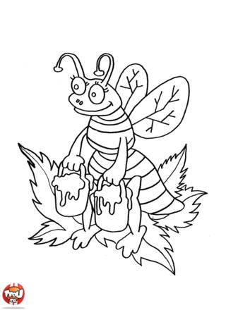 Coloriage : Abeille et pots de miel