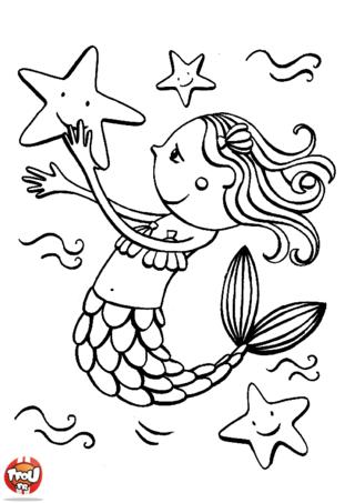 Coloriage: Petite sirène et étoiles de mer