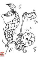 Petite sirène parle à l'hippocampe