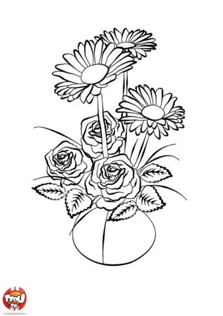 Coloriage : Quel joli bouquet de fleurs ! Tu aimes les fleurs ? Tu les trouves belles ? TFou a pensé à te faire plaisir avec cette rubrique de coloriages à imprimer fleurs. Une fois le coloriage imprimé, il ne te reste plus qu'à sortir des feutres ou tes crayons de couleurs et à rendre ces fleurs encore plus belles avec une multitude de couleurs. Ce coloriage bouquet de fleur fera un beau cadeau à offrir à ta maman par exemple. Et si tu souhaites imprimer d'autres coloriages fleur, retrouve les coloriages de tulipes, roses ou encore de marguerites !