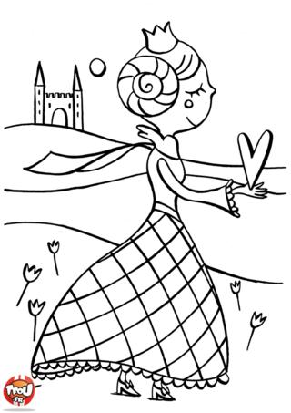 Coloriage: La princesse de coeur
