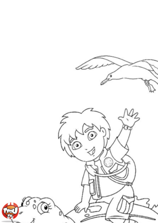 Coloriage: Diego et sa tortue