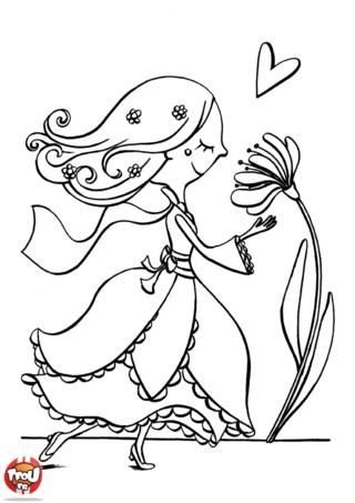 Coloriage: La princesse et la fleur
