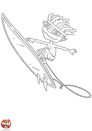 Coloriage: Otto planche de surf en l'air