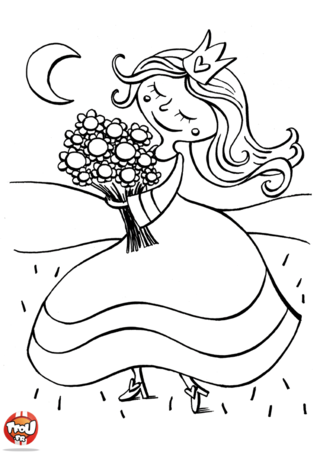 Coloriage: Princesse cueille un bouquet