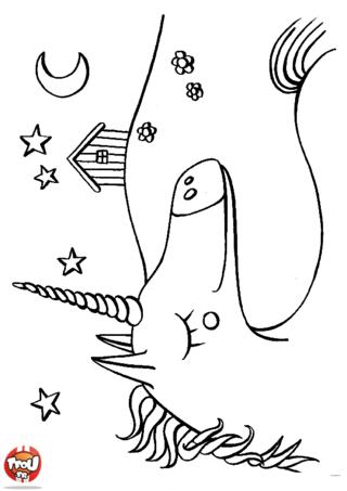 Coloriage: Licorne sous les étoiles
