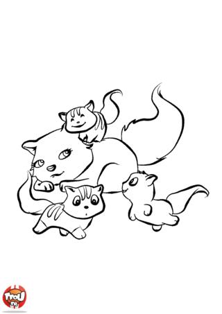 Coloriage: Maman chat et ses bébés