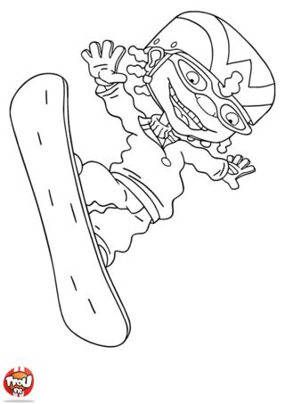 Coloriage: Otto et son snowboard