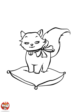 Coloriage: Petit chat sur un coussin