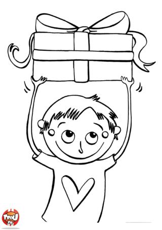 Coloriage: Petit garçon offre un cadeau