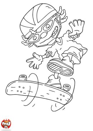 Coloriage: Otto fait un looping avec sa planche