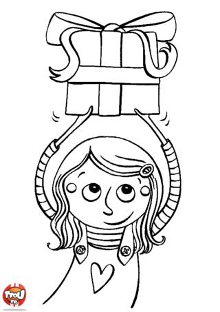 Coloriage: Petite fille offre un cadeau