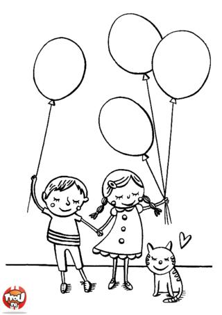 Coloriage: Enfants et leur ballon