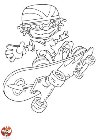 Coloriage: Otto fait un saut en skate