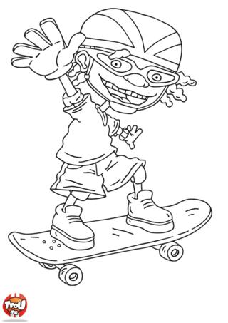 Coloriage: Otto salue en skate