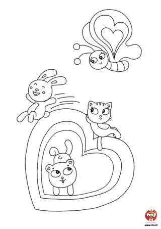 Des papillons, des chats et des lapins qui fêtent la Saint Valentin ! Sur TFou.fr, tu trouveras une multitude de coloriages pour la Saint Valentin à imprimer gratuitement.