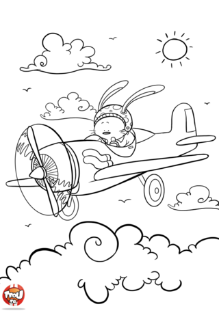 Coloriage: Lapin aviateur