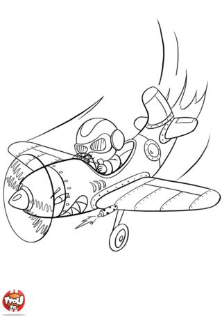 Coloriage: Aviateur à fond