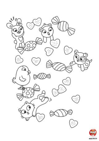 Trop mignons ces petits animaux et ces coeurs pour décorer ta table de la Saint Valentin le 14 février. Tu ne peux que fondre devant ce joli coloriage Saint Valentin.