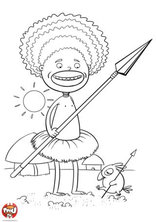 Coloriage: Enfant africain
