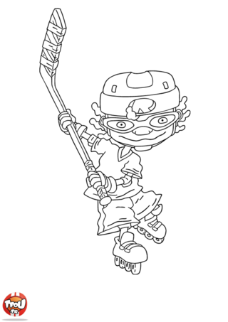 Coloriage: Otto tire au hockey