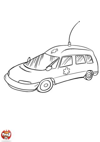 Coloriage: Voiture ambulance