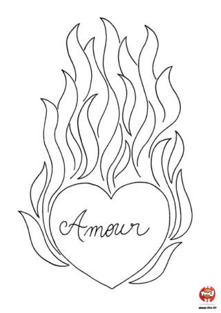 Quoi de plus symbolique que d'envoyer ou de dessiner des coeurs pour fêter la Saint Valentin ! Imprime vite ce coloriage coeur enflammé sur TFou.fr et colorie-le.