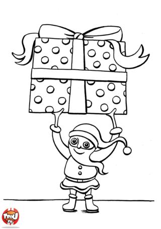 Coloriage: Lutin barbu et son cadeau