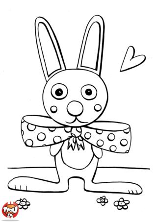 Coloriage : ce lapin et son gros noeud n'est-il pas trop mignon ? Il est prêt à passer de joyeuses fêtes de Pâques. Lui aussi adore le chocolat de Pâques ! Passe de Joyeuses Pâques avec lui ! Imprime vite ce coloriage de Pâques gratuitement et colorie ce coloriage avec mille couleurs ! Vive Pâques sur TFou.fr ! Découvre également plein d'autres coloriages de Pâques à imprimer gratuitement sur Tfou.fr !