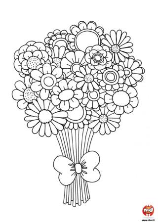 Bouquet De Fleur Coloriage.Bouquet Fleurs Dessin Noir Et Blanc