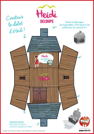 Imprime et découpe le chalet d'Heidi sur TFou.fr ! Heidi est une petite fille orpheline qui vit dans ce chalet avec son grand-père, à la montagne. Si tu aimes les aventures d'Heidi, la montagne et que tu aimerais vivre dans un chalet, découpe le patron et plie le long des pointillés. Rien de plus facile ! Rendez-vous sur TFou.fr pour d'autres coloriages Heidi.