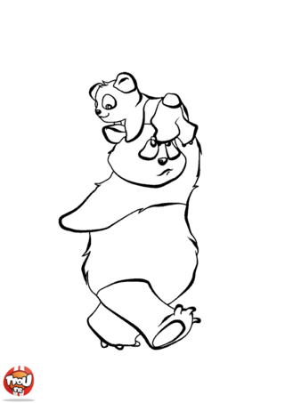 Coloriage: Le panda porte son bébé