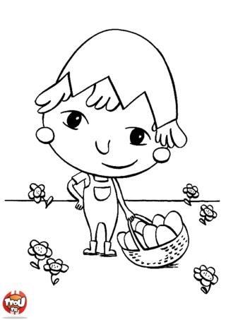 Coloriage : cet enfant cherche les oeufs de Pâques dans son jardin. Comme lui, tu adores partir à la chasse aux oeufs dans ton jardin. Les cloches, les lapins ou les oeufs de Pâques sont au rendez-vous pour fêter Pâques. Imprime gratuitement plein de coloriages de Pâques sur TFou.fr. Tu pourras passer de Joyeuses Pâques en coloriant de jolis dessins ! A toi de choisir les plus belles couleurs ! Vive les coloriages de Pâques sur TFou.fr !