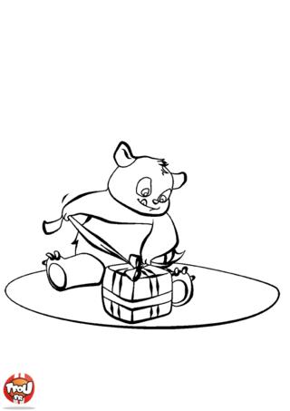 Coloriage: Petit panda a un cadeau