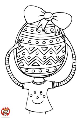 Coloriage : mais pourquoi cet enfant a une tête d'oeuf de Pâques ? C'est parce qu'il pense aux chocolats de Pâques ! Il est déjà prêt avec son panier à ramasser tous les oeufs de Pâques qu'il trouvera dans son jardin. Fêtes Pâques avec TFou.fr en imprimant tous les jolis coloriages de Pâques. En plus, ils sont tous gratuits ! Laisse parler ta créativité et colorie tous les coloriages de Pâques sur TFou.fr.
