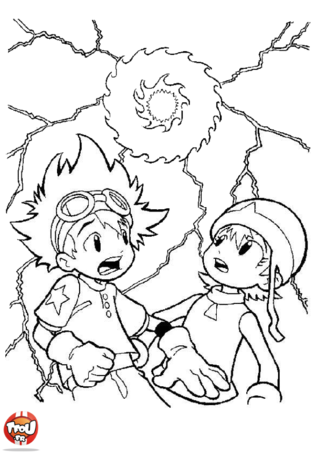 Coloriage: Digimon Taï & Sora