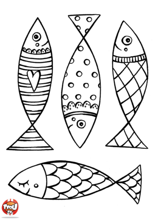 Coloriage : le 1er avril c'est le moment tant attendu dans l'année où tu peux faire des blagues. A tes amis, copains de classe ou ta famille, c'est l'occasion de bien rire ! TFou te propose ces quatre poissons sens dessus-dessous. Tu peux les imprimer, les colorier, les découper... Et la partie la plus marrante, les accrocher dans le dos de tes amis ! Quelle bonne blague ! En plus tu as vu ces quatre poissons sourient, ils pensent déjà à la bonne blague que tu prépares grâce à eux ! Sur ce coloriage poisson d'avril, les quatre poissons ont des écailles différentes, tu vas pouvoir les colorier de manière différente ! Un poisson coeur, un poisson à pois, un poisson strié et un poisson à écailles rondes. Autant de poisson différent pour de blague différente ! Imprime vite tes poissons d'avril sur TFou.fr.
