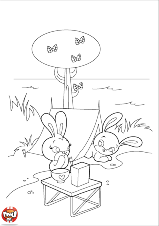 Coloriage: Lapins au camping