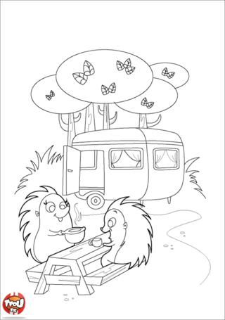 Coloriage: Hérissons au camping