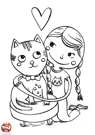 Coloriage: La fille et son chat