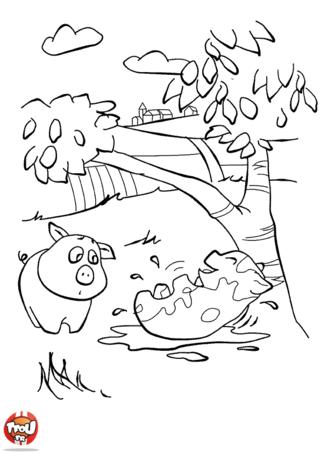 Coloriage: Les cochons dans la boue