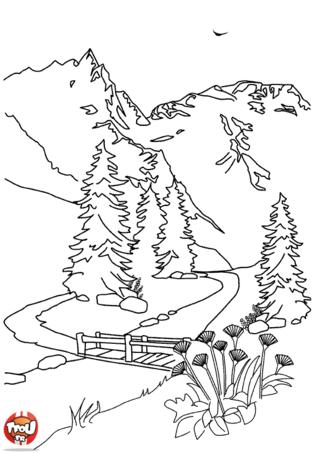 Nature scenery coloriage paysage de montagne a imprimer - Coloriage nature a imprimer ...