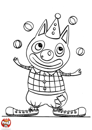 Coloriage: Chat clown