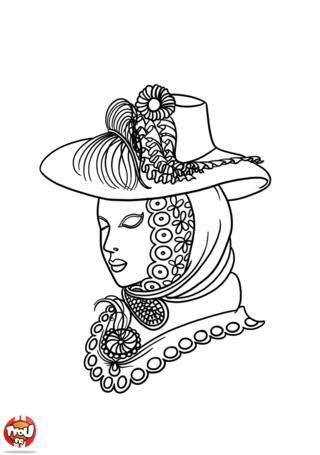 Au Carnaval de Venise, tu pourras voir de très jolis costumes de toutes les couleurs. Imprime ce coloriage de la dame au chapeau qui s'est bien déguisée pour le Carnaval.