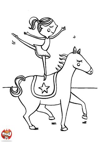 Coloriage: Equilibre sur le cheval