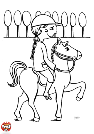 Coloriage: Balade  cheval