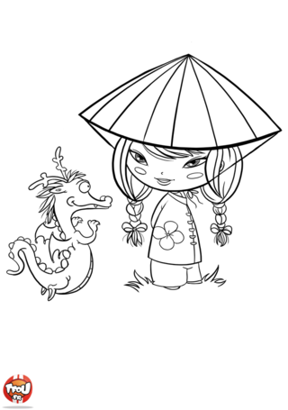 Coloriage: Fille et dragon